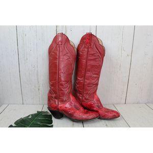 Tony Lama red snakeskin western boots